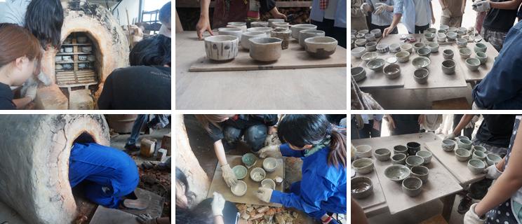 手づくり窯で焼成した陶器の窯出しが行われました